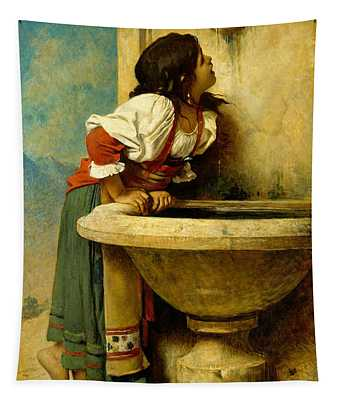 Roman Girl At A Fountain Tapestry