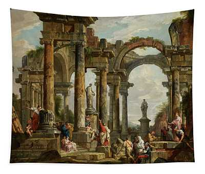 Roman Ruin Architecture With Predigendem St. Paul Tapestry