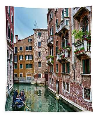 Gondola Ride Surrounded By Vintage Buildings In Venice, Italy Tapestry
