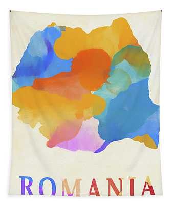 Romania Watercolor Map Tapestry