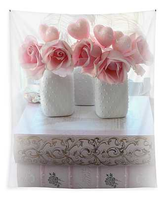 Romantic Pink Shabby Chic Roses Pink Books Hearts Valentine Print Home Decor  Tapestry