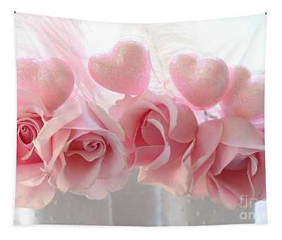 Romantic Pink Shabby Chic Valentine Hearts And Roses - Valentine Roses Pink And White Hearts Decor Tapestry