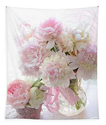 Shabby Chic Pink White Peonies - Shabby Chic Peonies Pastel Pink Dreamy Floral Wall Print Home Decor Tapestry