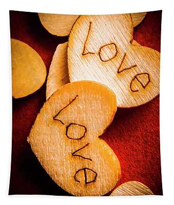 Romantic Wooden Hearts Tapestry