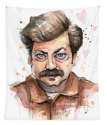 Ron Swanson Funny Love Portrait Tapestry