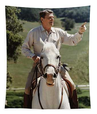 Ronald Reagan On Horseback  Tapestry