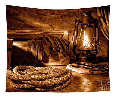 Rope And Tools In A Barn - Sepia Tapestry