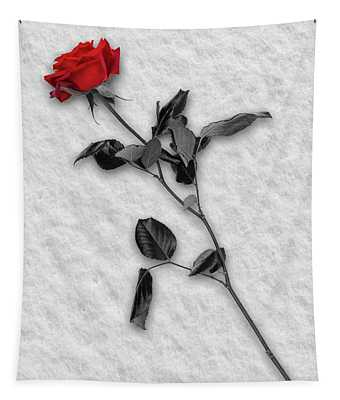 Rose In Snow Tapestry