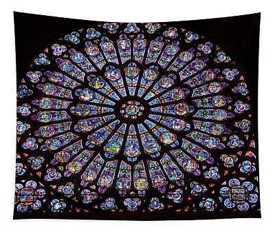 Rose Window At Notre Dame Cathedral Paris Tapestry