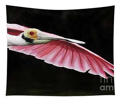 Roseate Spoonbill In Flight Tapestry