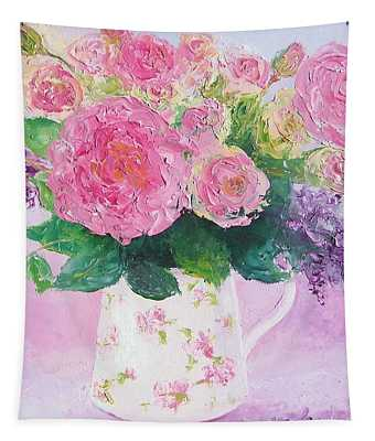 Roses In A Pink Floral Jug Tapestry