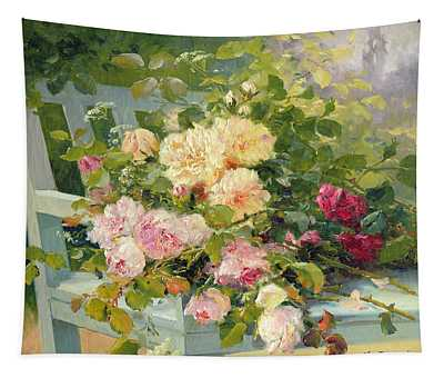 Roses On The Bench  Tapestry