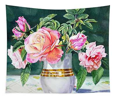 Roses Under The Sun Tapestry