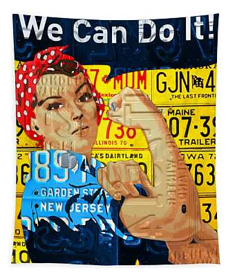 Rosie The Riveter We Can Do It Promotional Poster Recycled License Plate Art Tapestry