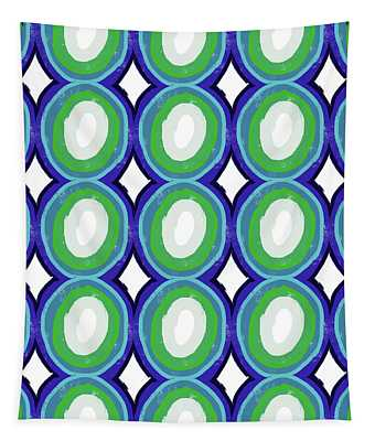 Round And Round Blue And Green- Art By Linda Woods Tapestry