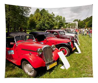 Row Of Vintage Cars Show Tapestry