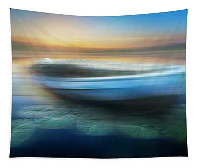 Rowboat At Sunset Dreamscape Tapestry
