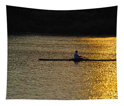 Rowing At Sunset Tapestry