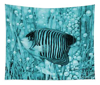 Royal Angelfish On Blue Tapestry