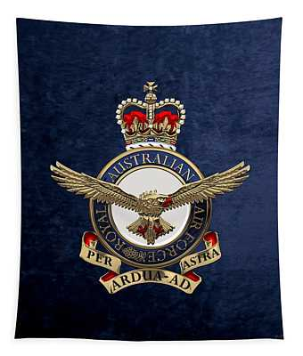 Royal Australian Air Force -  R A A F  Badge Over Blue Velvet Tapestry