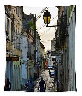 Alley At Dusk - Bahia, Brazil Tapestry