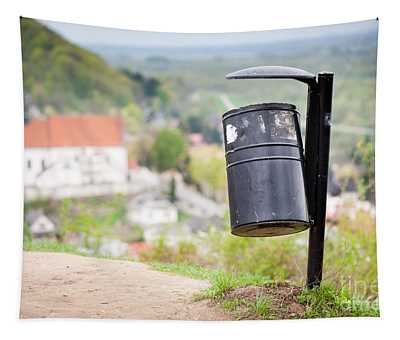 Rubbish Bin On The Hill And Blurred Dale View  Tapestry