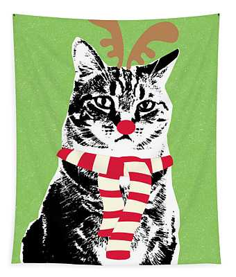 Rudolph The Red Nosed Cat- Art By Linda Woods Tapestry
