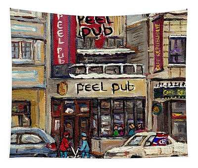 Rue Peel Montreal Winter Street Scene Paintings Peel Pub Cafe Republique Hockey Scenes Canadian Art Tapestry