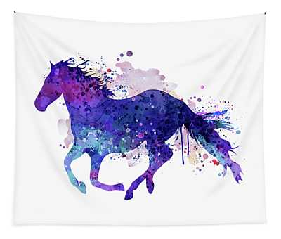 Running Horse Watercolor Silhouette Tapestry
