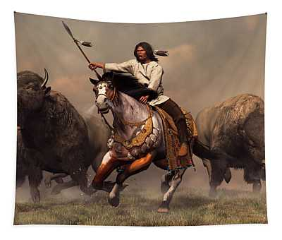 Running With Buffalo Tapestry