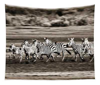 Running Zebras, Serengeti National Tapestry