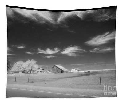 Rural Landscape, Black And White Infrared Tapestry