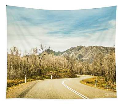Rural Road To Australian Mountains Tapestry