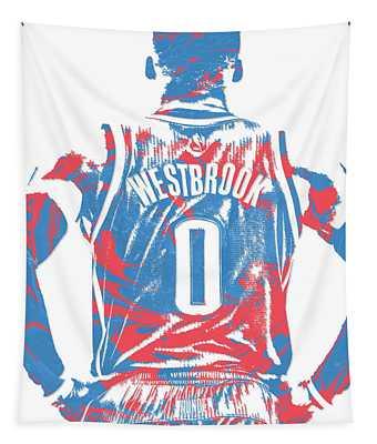 Russell Westbrook Oklahoma City Thunder Pixel Art 16 Tapestry