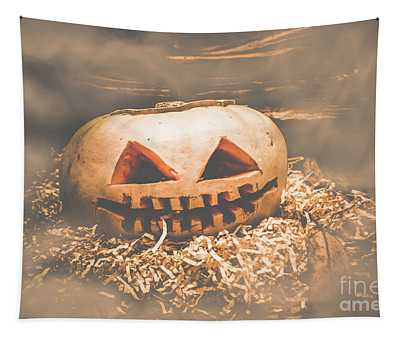 Rustic Barn Pumpkin Head In Horror Fog Tapestry