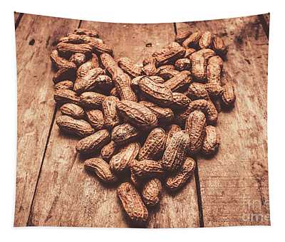 Rustic Country Peanut Heart. Natural Foods Tapestry