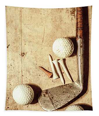 Rustic Golf Club Memorabilia Tapestry