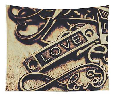 Rustic Love Icons Tapestry