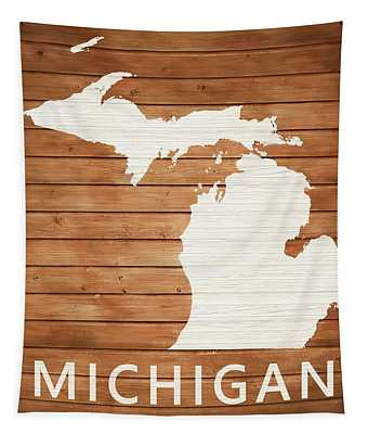 Rustic Michigan Map On Wood Tapestry