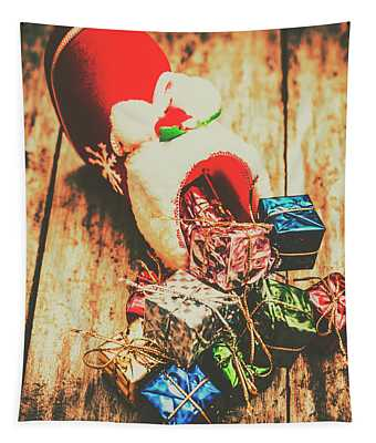 Rustic Red Xmas Stocking Tapestry