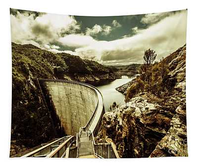 Rustic Rural Water Architecture Tapestry