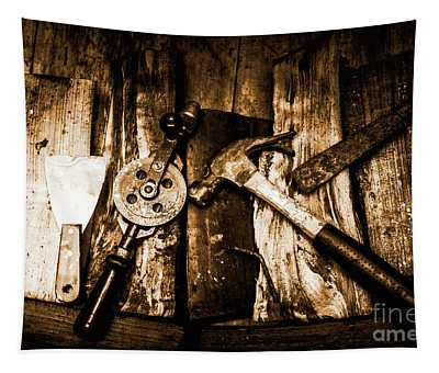 Rusty Old Hand Tools On Rustic Wooden Surface Tapestry