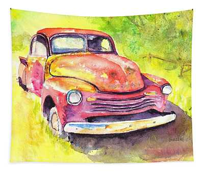 Rusty Old Red Truck Tapestry