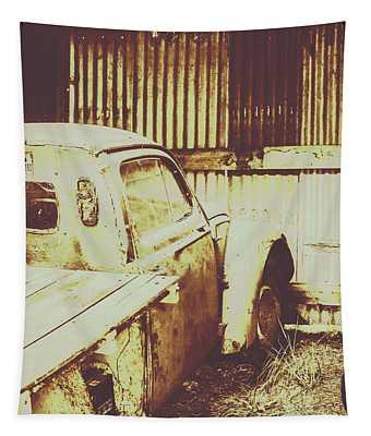Rusty Pickup Garage Tapestry