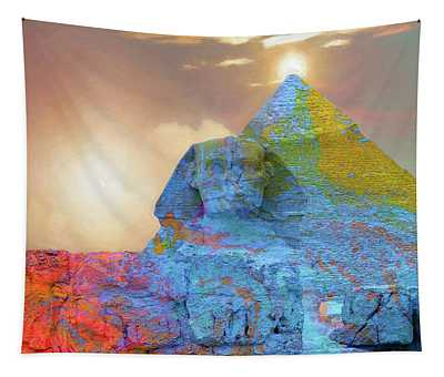 Sacred Places - The Great Sphinx Of Giza In Front Of The Great Pyramid Tapestry