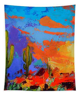 Saguaros Land Sunset By Elise Palmigiani - Square Version Tapestry