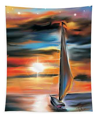 Sailboat And Sunset Tapestry