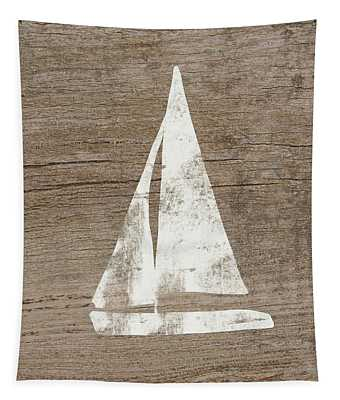 Sailboat On Wood- Art By Linda Woods Tapestry