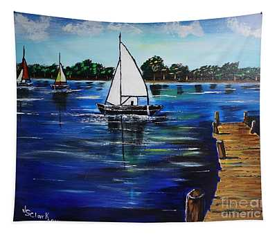 Sailboats And Pier Tapestry