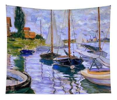 Sailboats On The Seine At Petit Gennevilliers Claude Monet 1874 Tapestry